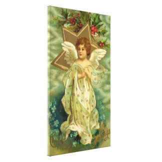 Vintage Christmas Angel Gold Star Holly Berries Gallery Wrapped Canvas