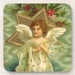 Vintage Christmas Angel Gold Star Holly Berries Coasters