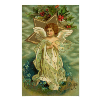 Vintage Christmas Angel Gold Star Holly Berries Print