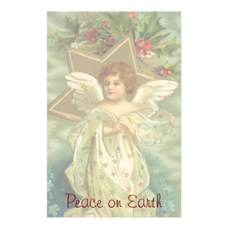 Vintage Christmas Angel Gold Star Holly Berries Stationery Paper