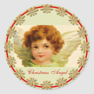 Vintage Christmas Angel Green and Red Classic Round Sticker
