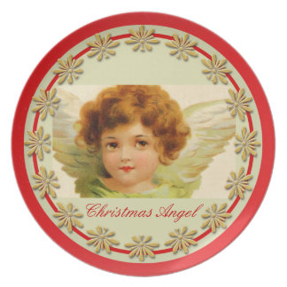 Vintage Christmas Angel Green and Red Dinner Plate