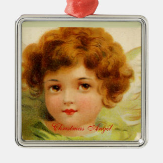 Vintage Christmas Angel Green and Red Metal Ornament