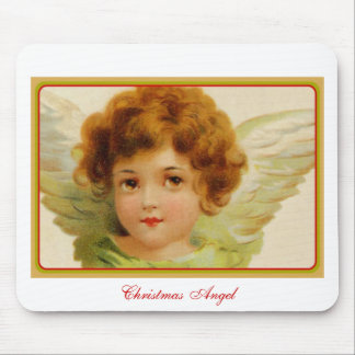 Vintage Christmas Angel Green and Red Mouse Pad
