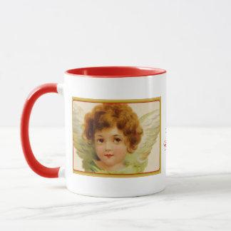 Vintage Christmas Angel Green and Red Mug