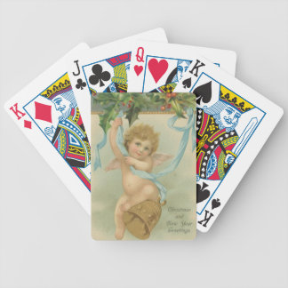 Vintage Christmas Angel Hanging From Holly Bicycle Playing Cards