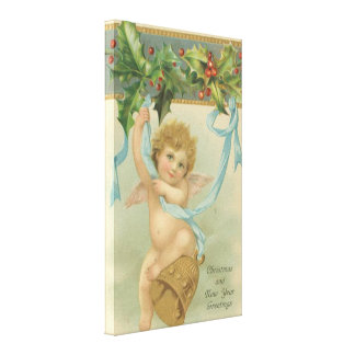 Vintage Christmas Angel Hanging From Holly Canvas Print