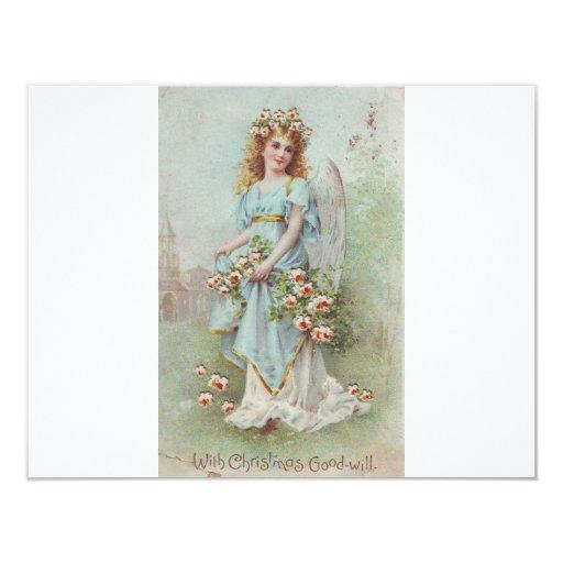 """Vintage Christmas Angel 4.25"""" X 5.5"""" Invitation Card"""