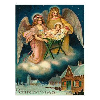 Vintage Christmas Angel Nativity Postcard