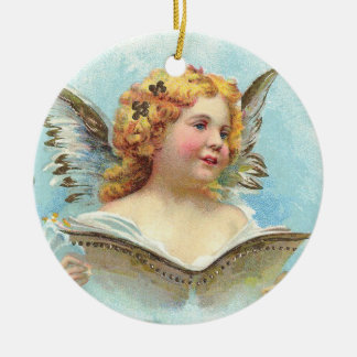 Vintage Christmas Angel Double-Sided Ceramic Round Christmas Ornament