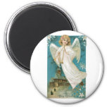 Vintage Christmas Angel playing Trumpet 2 Inch Round Magnet