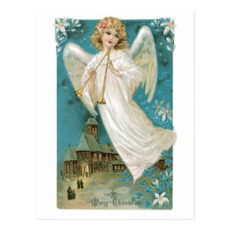 Vintage Christmas Angel playing Trumpet Postcard