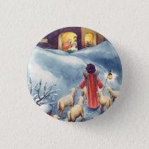 Vintage Christmas Angel Shepherd Nativity Pinback Button