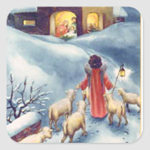 Vintage Christmas Angel Shepherd Nativity Square Sticker