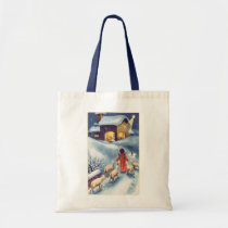 Vintage Christmas Angel Shepherd Nativity Tote Bag