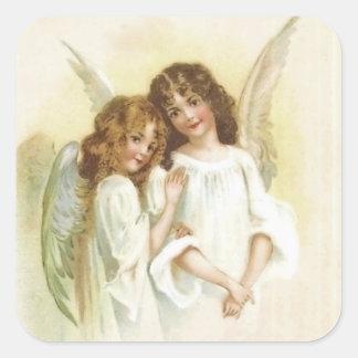 Vintage Christmas Angel Square Sticker