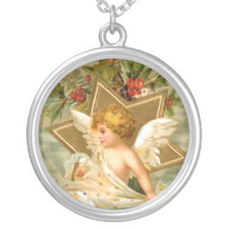 Vintage Christmas Angel Star Silver Plated Necklace