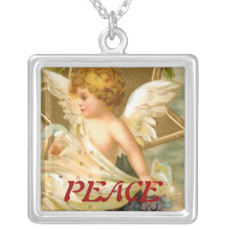 Vintage Christmas Angel Star Square Pendant Necklace