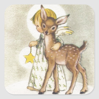 Vintage Christmas Angel With Baby Deer Square Sticker