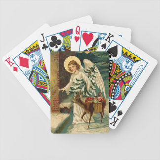 Vintage Christmas Angel with deer Bicycle Playing Cards