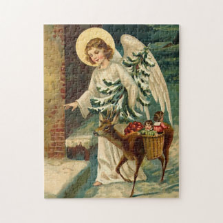 Vintage Christmas Angel with deer Jigsaw Puzzle