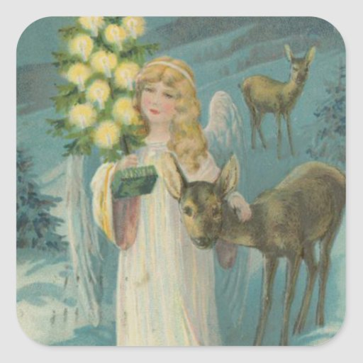 Vintage Christmas Angel with Deer Square Sticker
