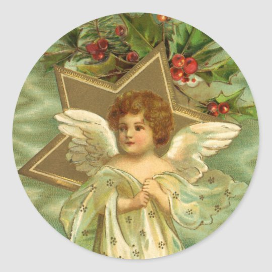 Vintage Christmas Angel with Gold Stars Classic Round Sticker