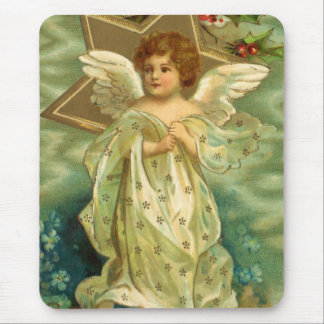 Vintage Christmas Angel with Gold Stars Mouse Pad