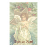 Vintage Christmas Angel with Gold Stars Stationery