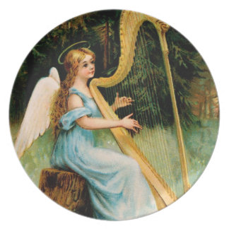 Vintage Christmas Angel with Harp Dinner Plate