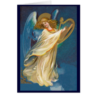 Vintage Christmas Angel with Harp Greeting Card