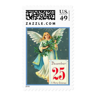 Vintage Christmas Angel With Pine Branch Postage