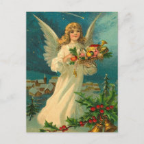 Vintage Christmas Angel with Toys Holiday Postcard