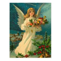 Vintage Christmas Angel with Toys Postcard