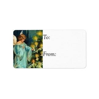 Vintage Christmas Angel With Tree Gift Tag