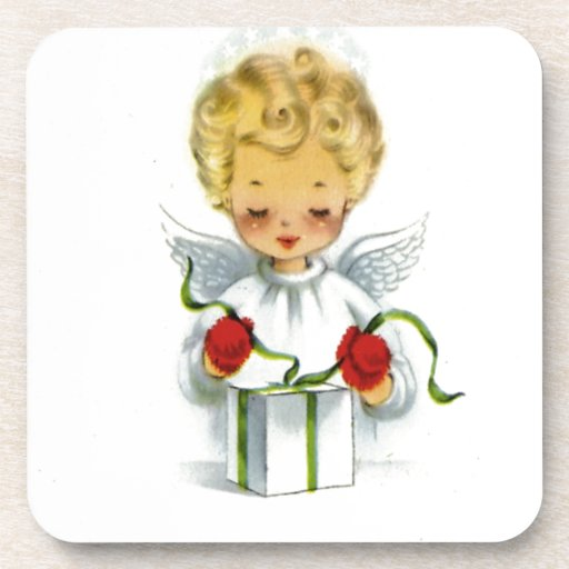 Vintage Christmas Angel Wrapping Gift Coasters
