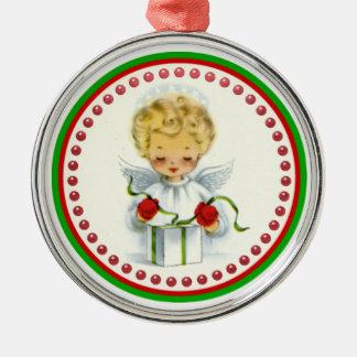 Vintage Christmas Angel Wrapping Gift Metal Ornament