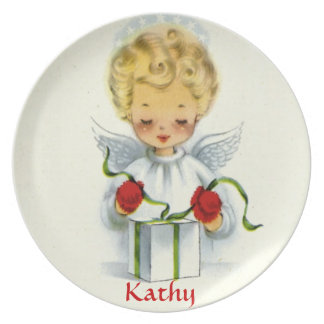Vintage Christmas Angel Wrapping Gift Plate