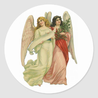 Vintage Christmas, Angelic Victorian Angels Classic Round Sticker