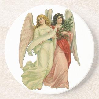 Vintage Christmas, Angelic Victorian Angels Sandstone Coaster