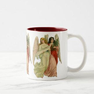 Vintage Christmas, Angelic Victorian Angels Two-Tone Coffee Mug