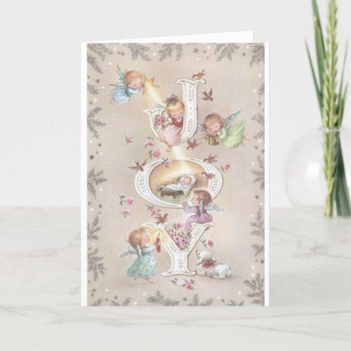 Vintage Christmas -Angels Bring Joy to Baby Jesus, Holiday Card
