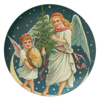 Vintage Christmas Angels Dinner Plate