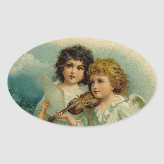 Vintage Christmas  Angels Duo and Violin Oval Sticker