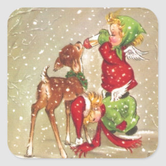 Vintage Christmas Angels Feeding Baby Deer Square Sticker
