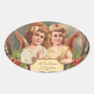 Vintage Christmas Angels Oval Sticker