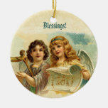 Vintage Christmas Angels Playing Harp Double-Sided Ceramic Round Christmas Ornament