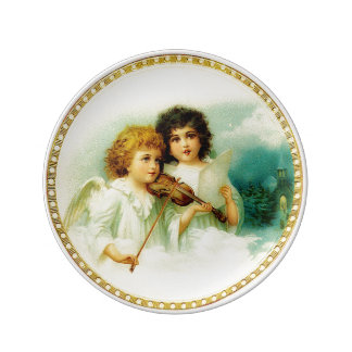 Vintage Christmas Angels Porcelain Plate