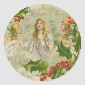 Vintage Christmas Angels with Wreath Classic Round Sticker