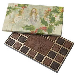 Vintage Christmas Angels with Wreath 45 Piece Assorted Chocolate Box